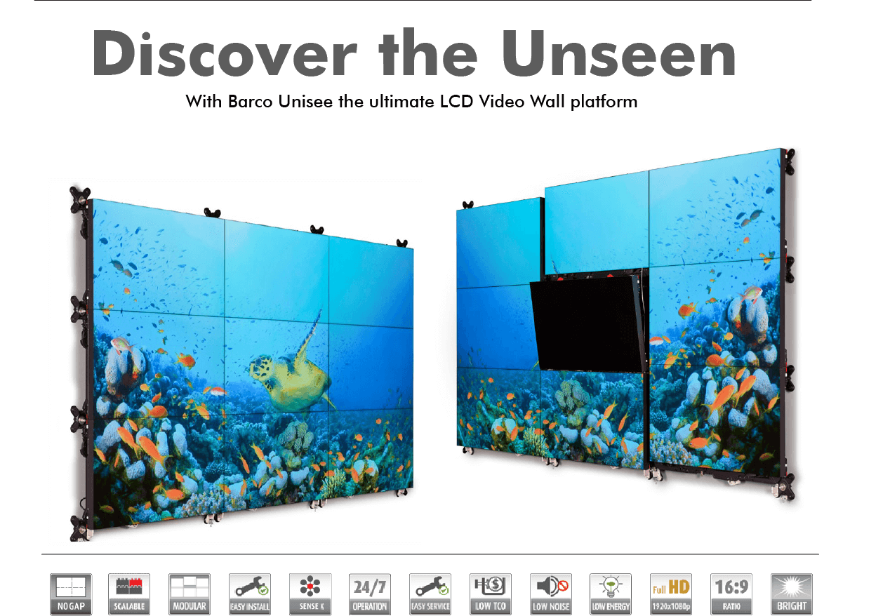 Barco UniSee LCD video wall. Discover the unseen